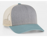 pacific-headwear-104c-trucker-snapback-cap-heather-grey-smokeblue-beige-osf
