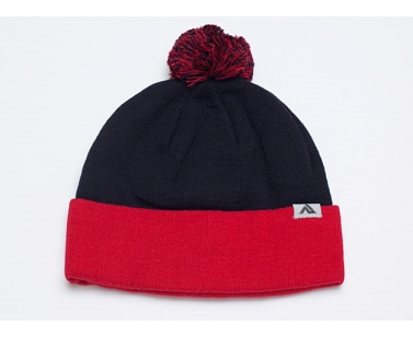 Pacific Headwear 641K Pom-Pom Cuff Beanie - Navy/Red - OSFM