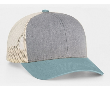 Pacific Headwear 104C Trucker Snapback Cap - Heather Grey/SmokeBlue/Beige - OSF